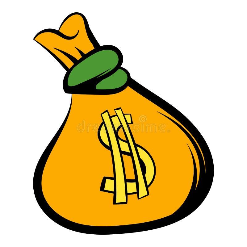 Bolso del dinero con el icono de la muestra de dólar de EE. UU., historieta del icono stock de ilustración