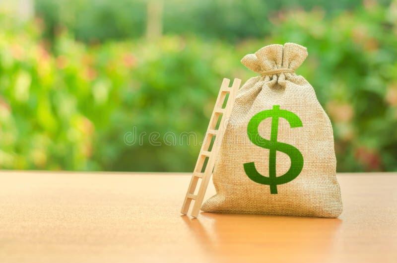 Bolso del dinero con símbolo y la escalera del dólar De lanzamiento y crowdfunding Depósito y ahorros Realización de la meta y de fotografía de archivo libre de regalías