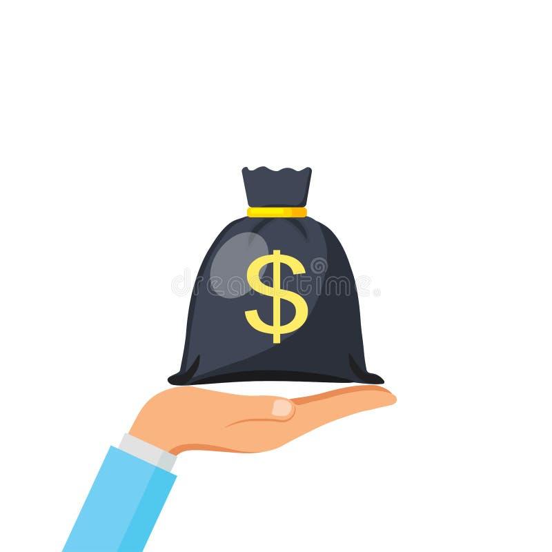 Bolso del dinero del control de la mano, historieta simple de la talega con el lazo del oro y muestra de dólar aislada en el fond libre illustration