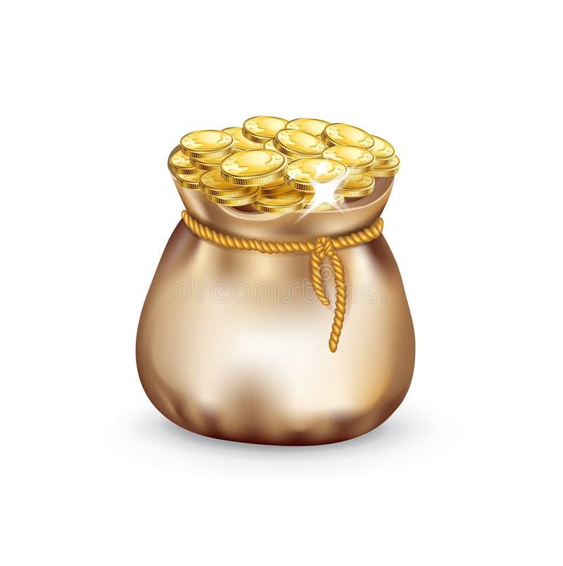 Download Bolso Del Dinero Llenado De Las Monedas De Oro Aisladas Ilustración del Vector - Ilustración de fondo, finanzas: 42439557