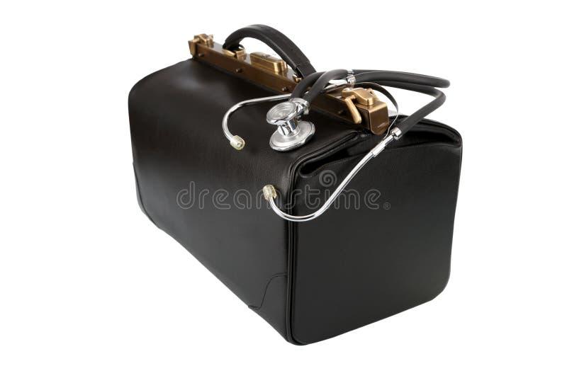 Bolso del doctor con el estetoscopio foto de archivo