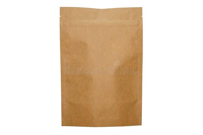 Bolso del doypack del papel de Kraft con la cremallera en el fondo blanco fotografía de archivo