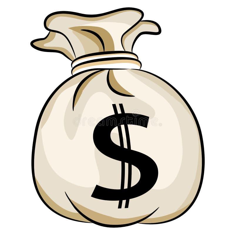 Bolso del efectivo de los E.E.U.U. del dinero bancario ilustración del vector