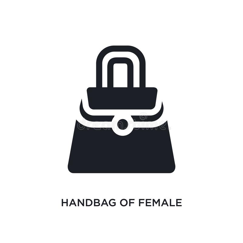 bolso del icono aislado femenino ejemplo simple del elemento de iconos del concepto de la ropa de la mujer bolso del logotipo edi stock de ilustración