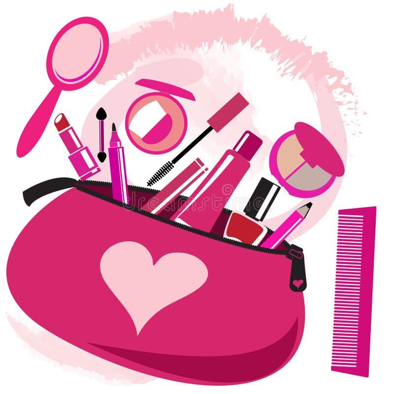 Bolso del maquillaje con las herramientas del cosmetólogo ilustración del vector