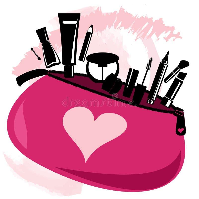 Bolso del maquillaje con las herramientas del cosmetólogo stock de ilustración