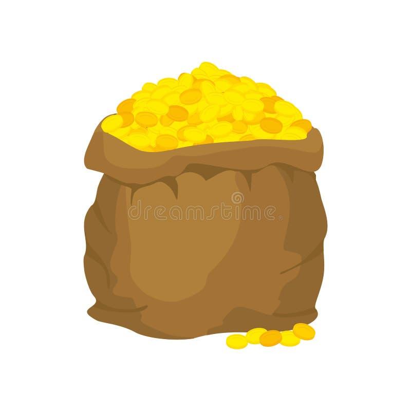 Bolso del oro Muchas monedas de oro Abra el saco por completo de tesoros ilustración del vector