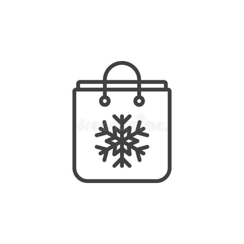 Bolso del regalo con la línea icono, muestra del vector del esquema, p linear del copo de nieve ilustración del vector