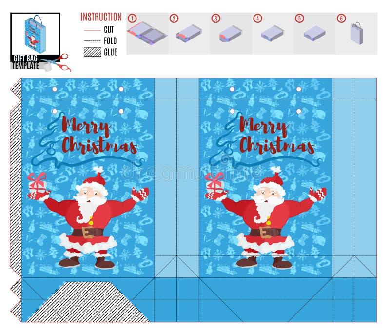 Bolso del regalo de la Navidad con feliz Papá Noel stock de ilustración