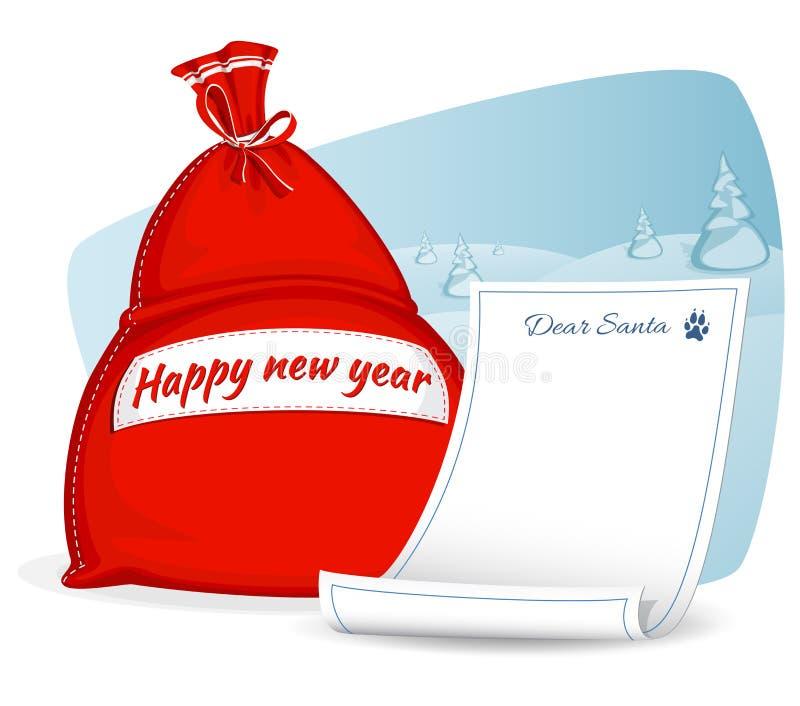 Bolso del rojo de Santa Claus Carta a Papá Noel Saco grande para los regalos Símbolo de la Navidad y del Año Nuevo aislados en el libre illustration