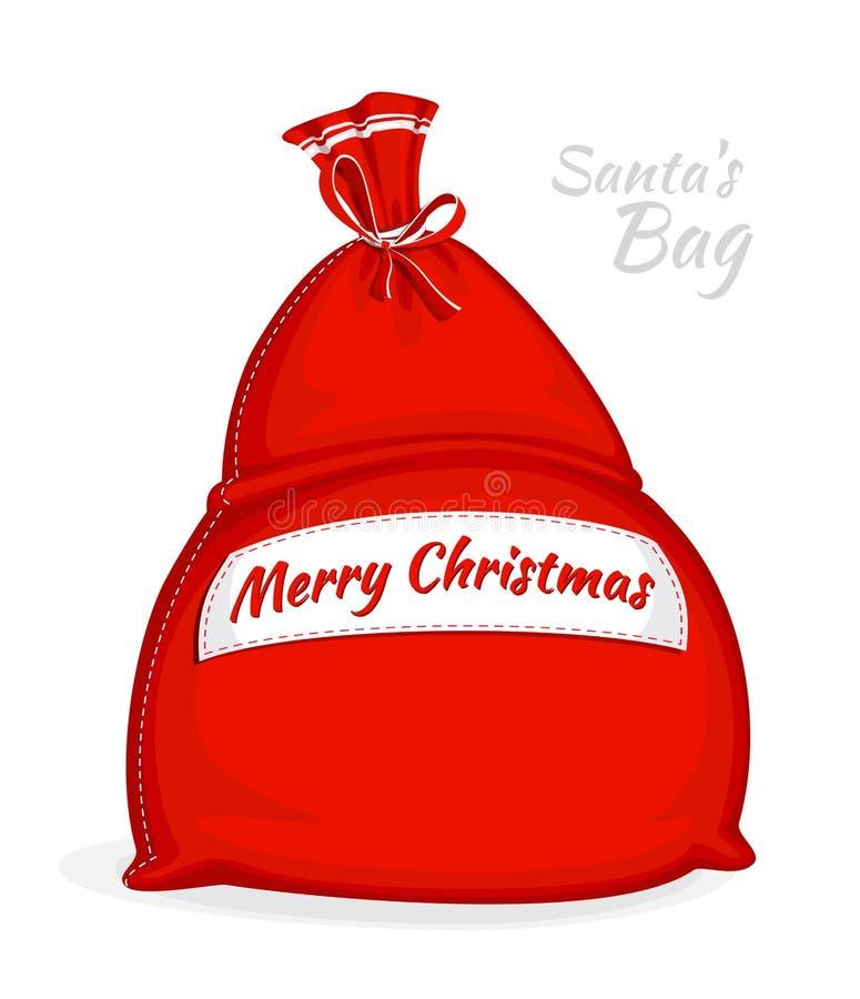 Bolso del rojo de Santa Claus Saco grande para los regalos Símbolo del Año Nuevo y de la Navidad aislados en el fondo blanco Ilus stock de ilustración