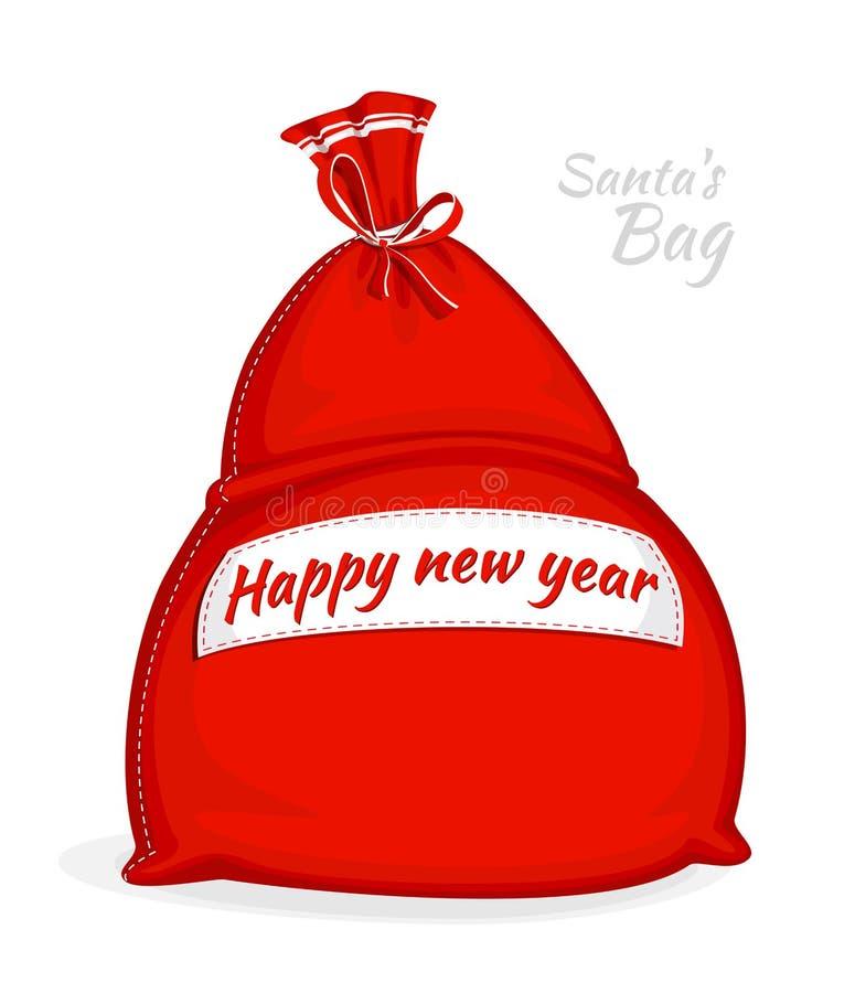 Bolso del rojo de Santa Claus Saco grande para los regalos Símbolo de la Navidad y del Año Nuevo aislados en el fondo blanco Ilus libre illustration