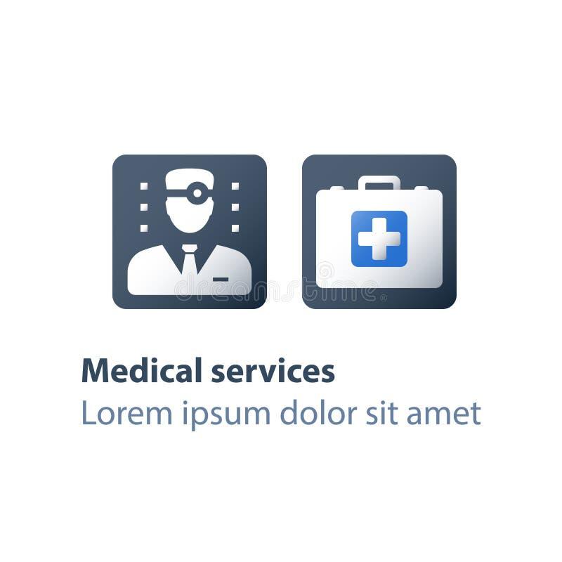 Bolso del trabajador, del doctor y de los primeros auxilios de la atención sanitaria, doctor de la llamada a visitar en casa, ser ilustración del vector