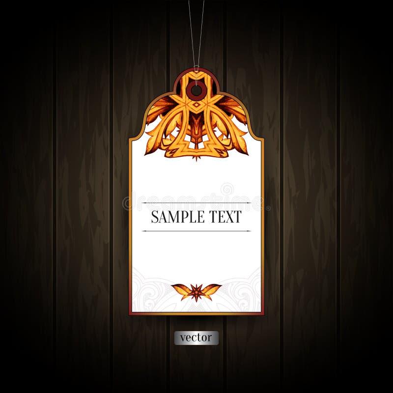 Bolso del vintage, etiqueta del equipaje, arte de la etiqueta, etiqueta de la etiqueta del vino ilustración del vector