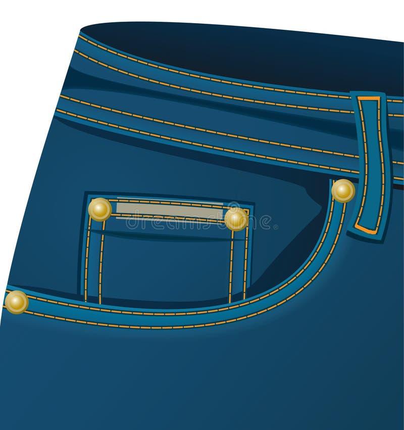 Bolso dianteiro do calças de brim ilustração stock