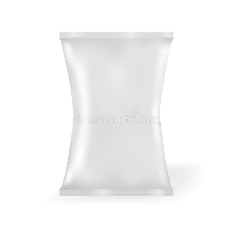Bolso en blanco blanco de la bolsita del bocado de la comida de la hoja que empaqueta para el café, sal, azúcar, pimienta, especi libre illustration