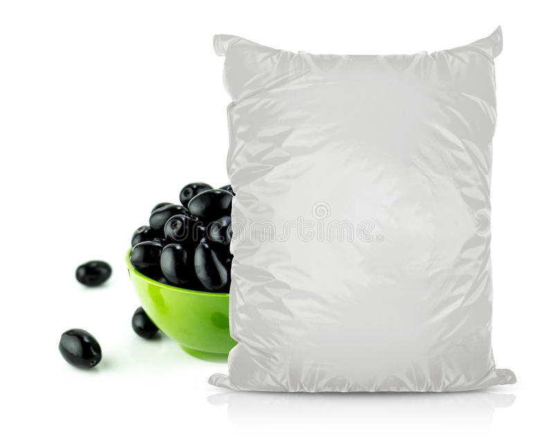 Bolso en blanco blanco de la comida de la hoja foto de archivo