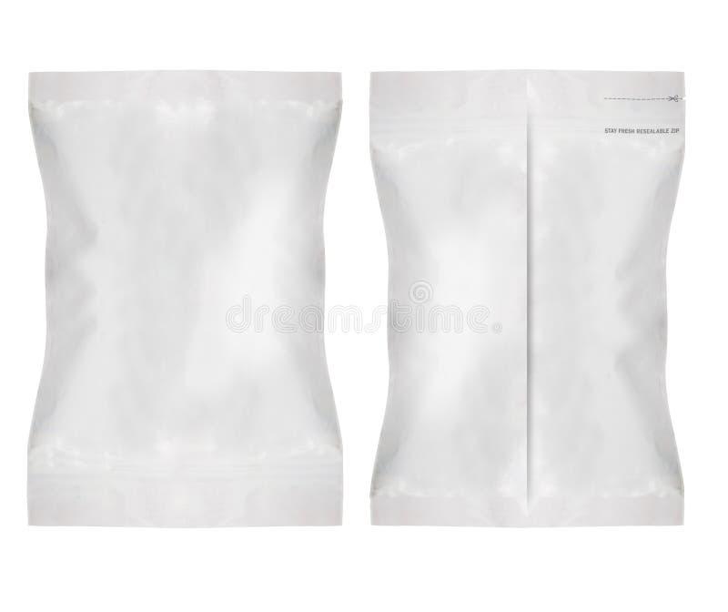 Bolso en blanco blanco de la comida de la hoja fotos de archivo