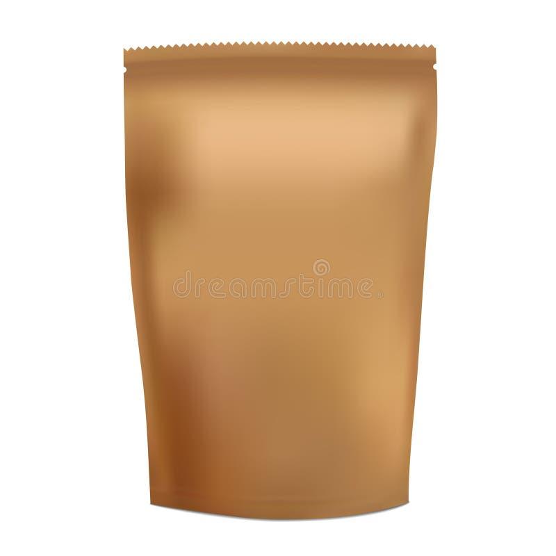 Bolso en blanco de oro de la bolsita del bocado de la comida de la hoja stock de ilustración