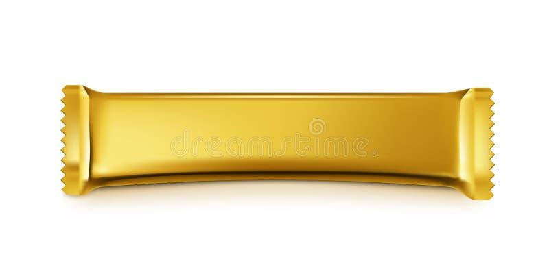 Bolso en blanco del bocado de barra de chocolate del oro en el fondo blanco libre illustration