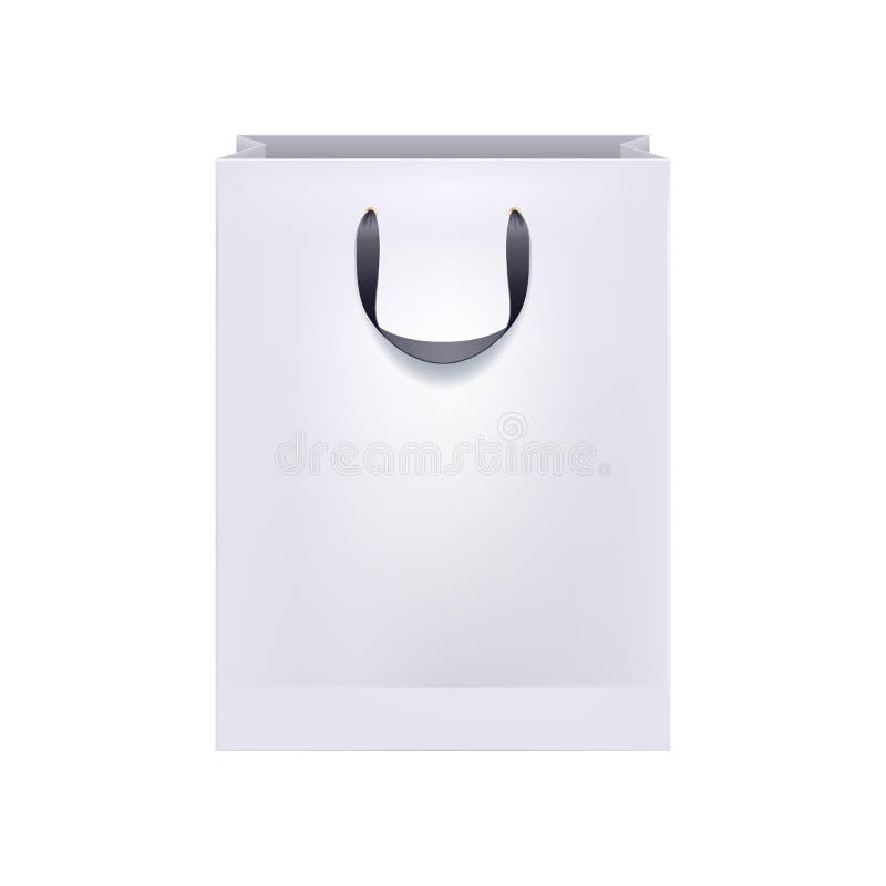 Bolso en blanco del Libro Blanco con las manijas negras stock de ilustración