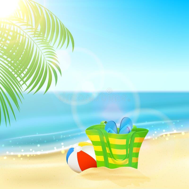 Bolso en la playa tropical stock de ilustración