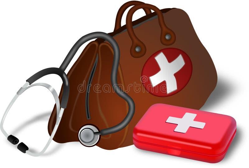 Bolso, estetoscopio y medibox de los doctores stock de ilustración