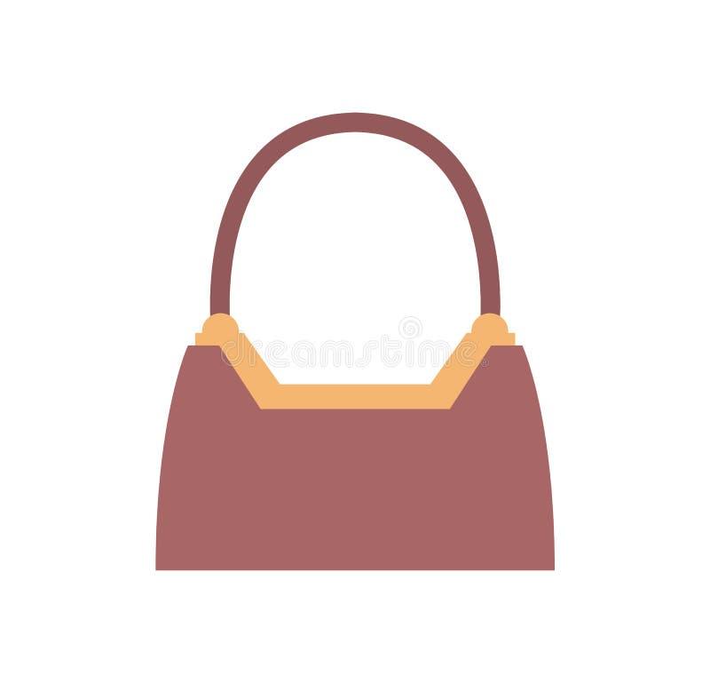 Bolso femenino costoso elegante de cuero de Brown ilustración del vector