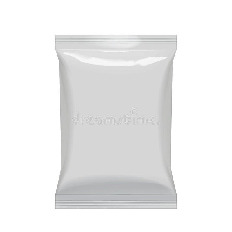 Bolso flexible de la hoja en color gris Paquete realista de la almohada del bocado de la comida stock de ilustración