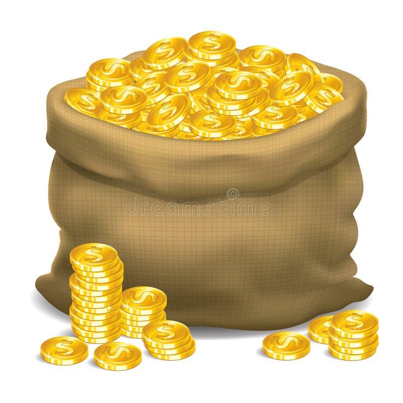 Bolso gris por completo de las monedas de oro Ilustración del vector stock de ilustración