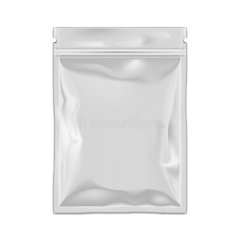 Bolso llenado de la bolsa de la hoja que empaqueta con la cremallera ilustración del vector