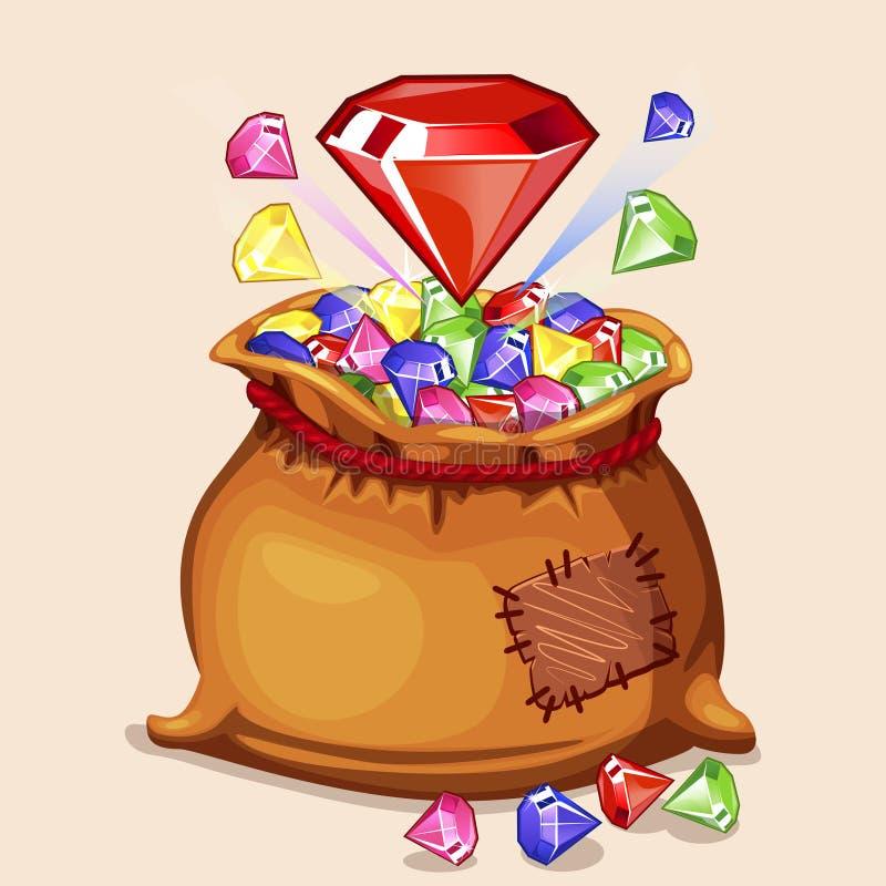 Bolso lleno de la historieta con de diamantes ilustración del vector