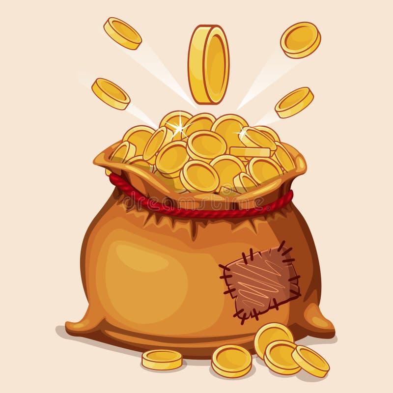 Bolso lleno de la historieta de las monedas de oro libre illustration