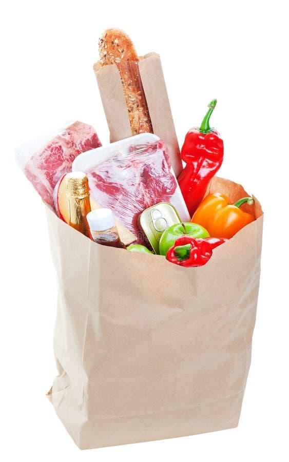 Bolso lleno de tiendas de comestibles foto de archivo libre de regalías