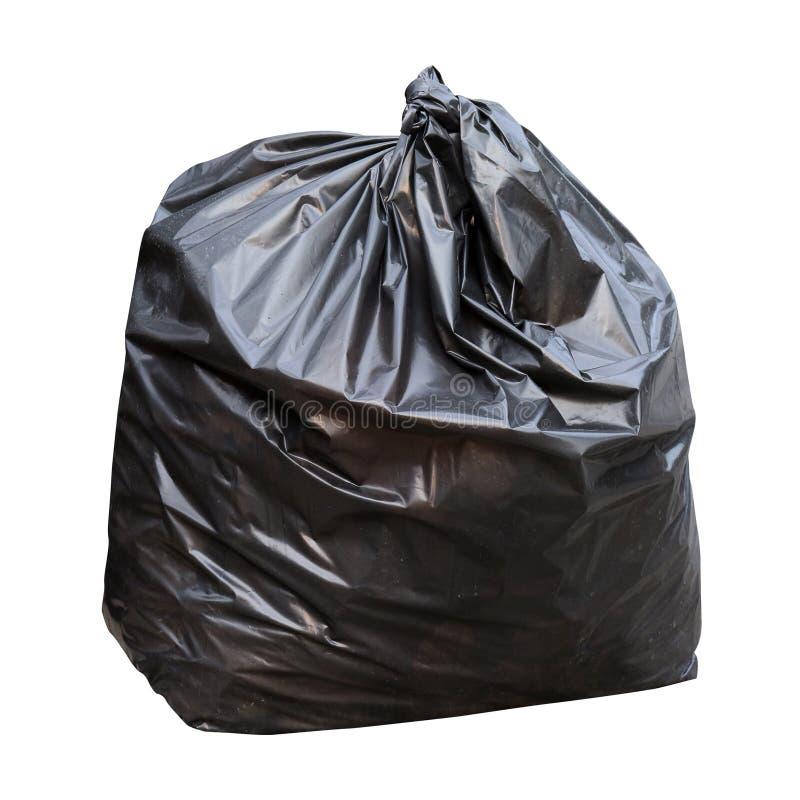 Bolso negro de la basura de la basura aislado en el fondo blanco imagen de archivo libre de regalías