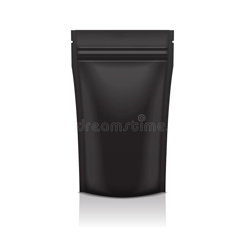Bolso negro en blanco de la bolsita de la bolsa del paquete de Doy de la comida o del cosmético de la hoja que empaqueta con la c ilustración del vector