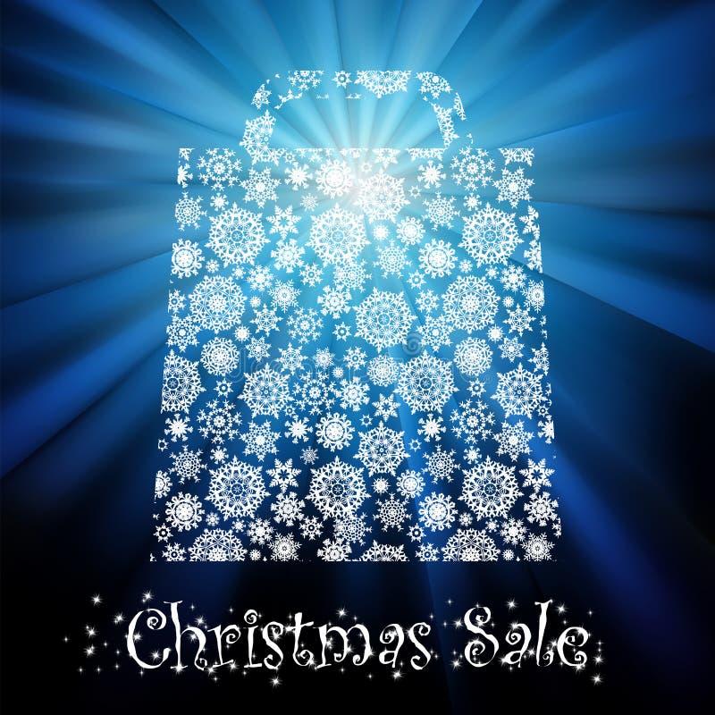 Bolso para hacer compras con los copos de nieve. EPS 8 stock de ilustración