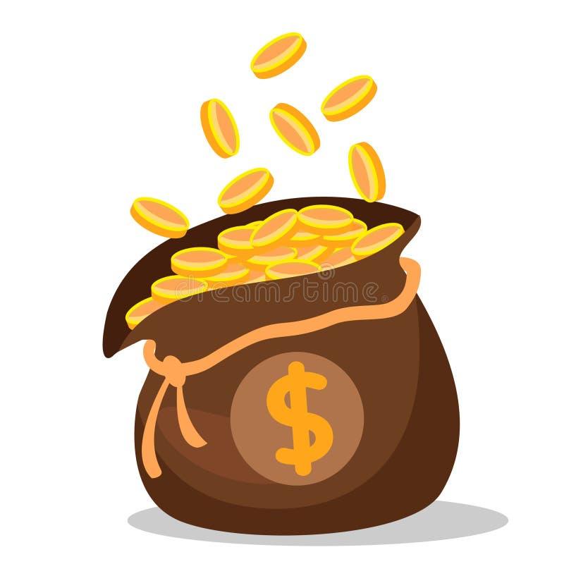 Bolso por completo de las monedas de oro en un fondo blanco ilustración del vector