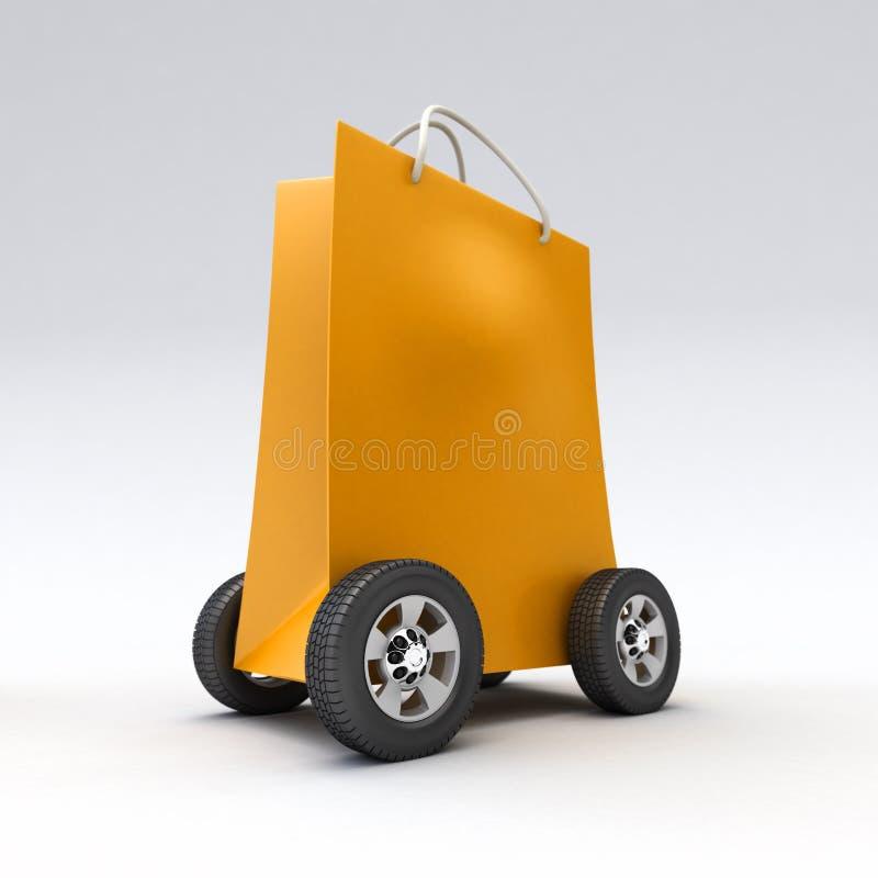 Bolso que hace compras anaranjado en las ruedas ilustración del vector