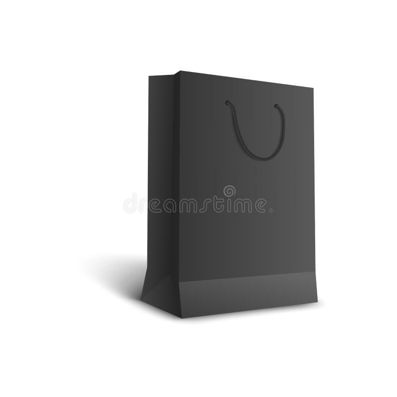 Bolso que hace compras negro - mofa al por menor aislada del espacio en blanco del paquete de la mercancía para arriba ilustración del vector