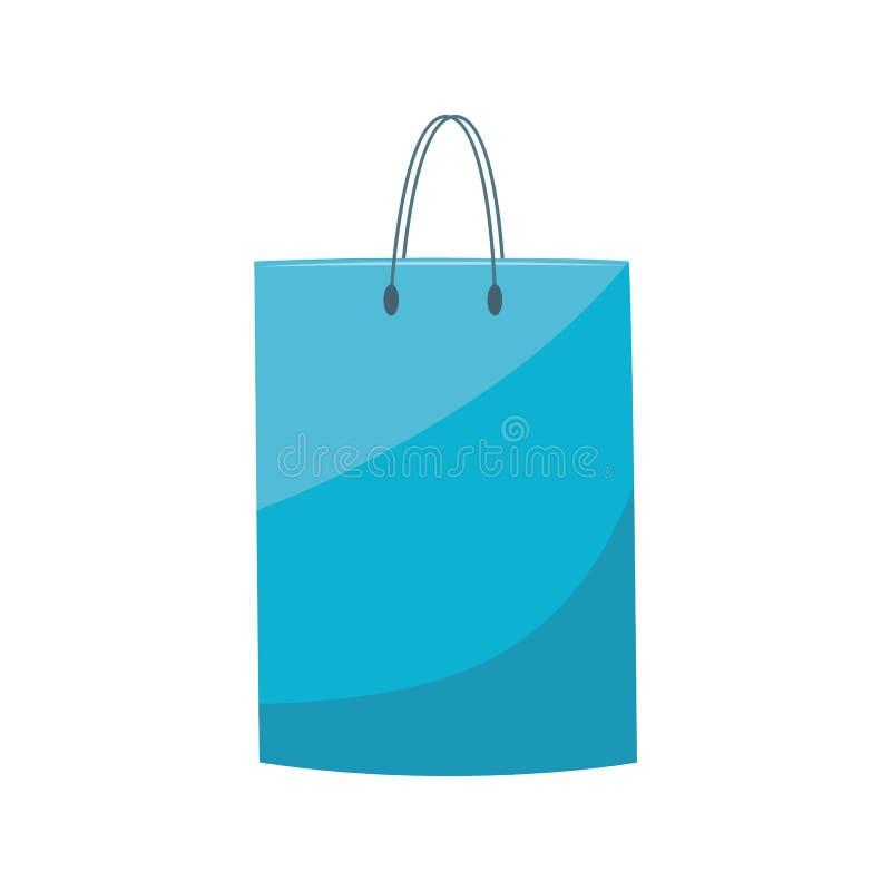 Bolso que hace compras plástico azul con la manija en estilo plano aislada en el fondo blanco libre illustration