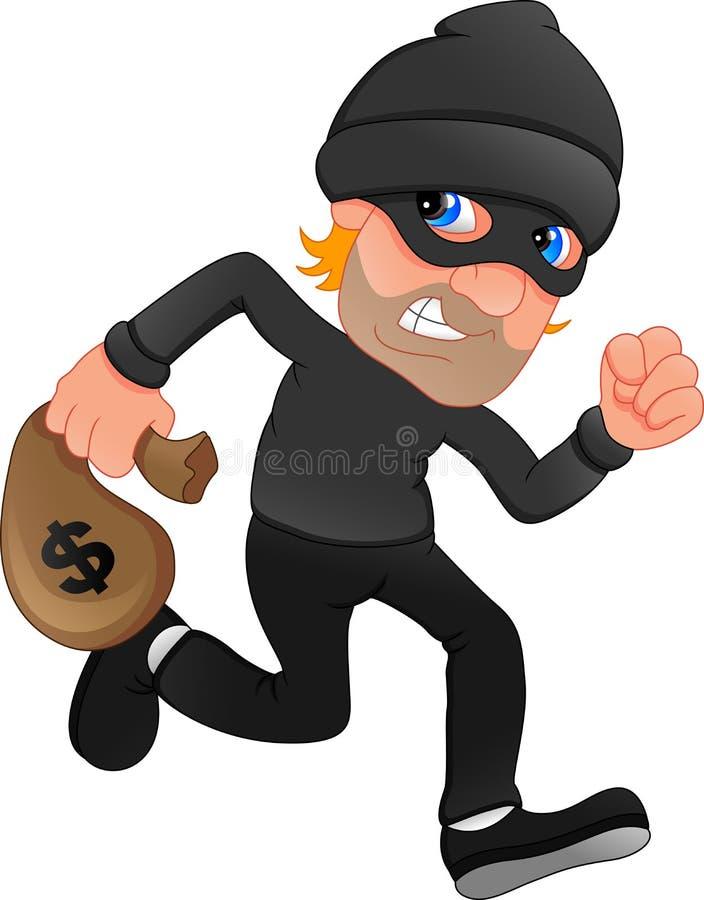 Bolso que lleva del ladr?n del dinero con una muestra de d?lar stock de ilustración