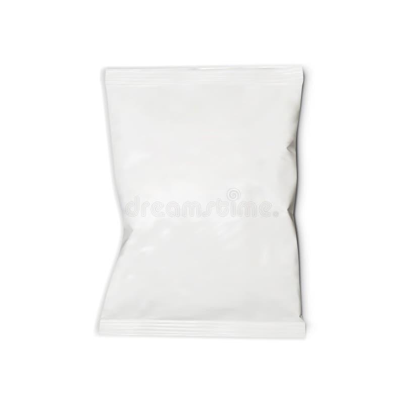 Bolso realista de la almohada del bocado de la comida en el fondo blanco ilustración del vector