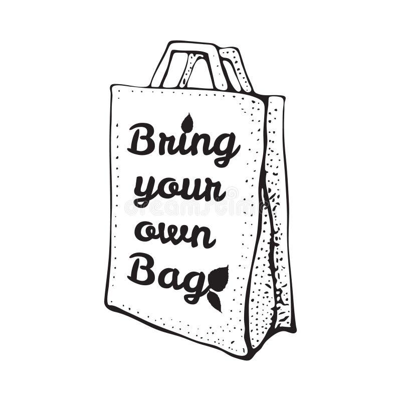 Bolso reciclado de papel Ejemplo del garabato del bosquejo aislado en blanco Traiga su propio bolso Bpa y concepto libre plástico stock de ilustración