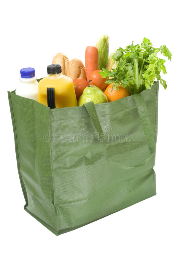Bolso reutilizable por completo de tiendas de comestibles fotos de archivo