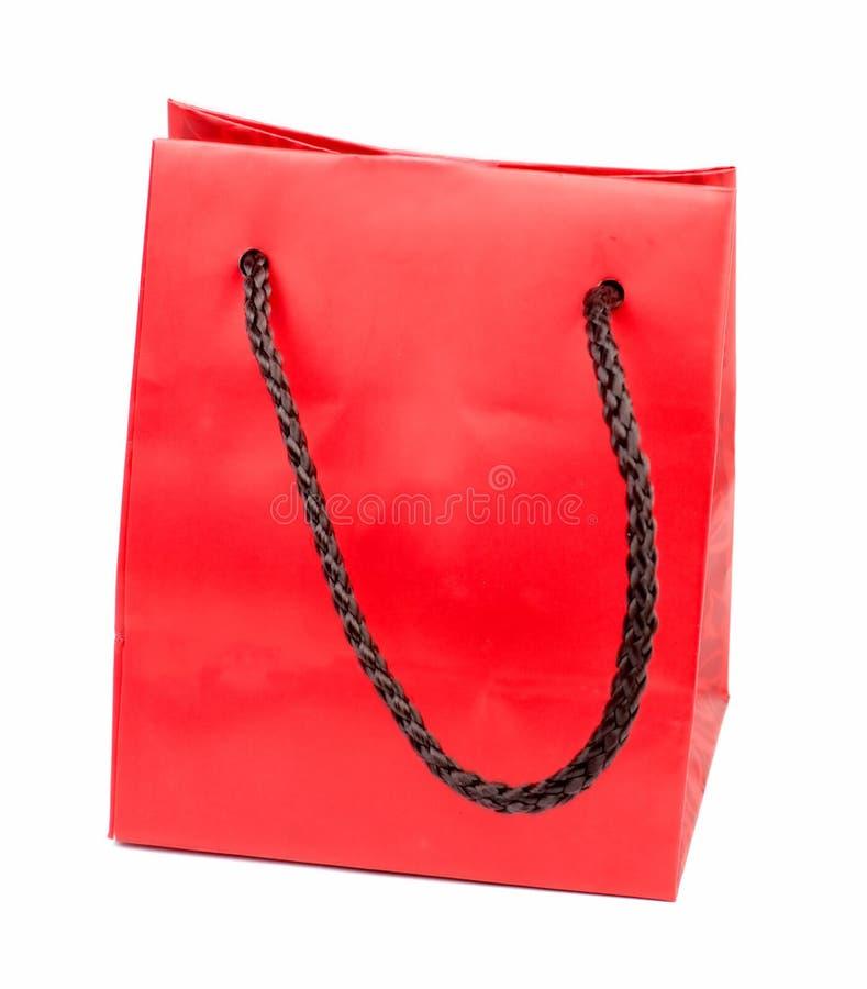 Bolso rojo del regalo fotos de archivo