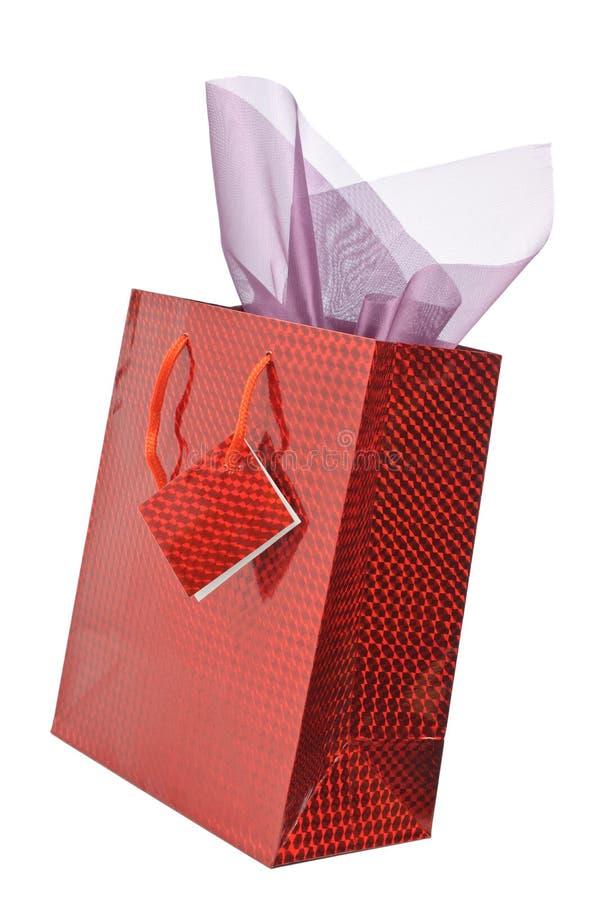 Bolso rojo del regalo imagenes de archivo