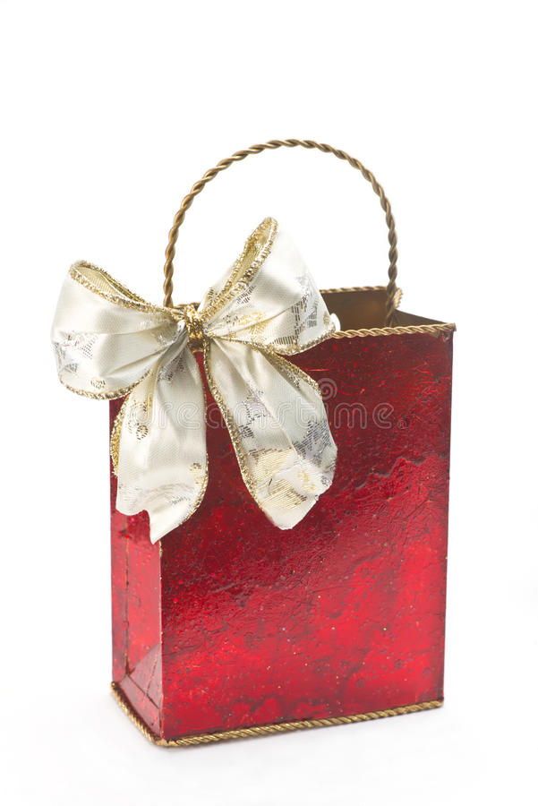 Bolso rojo del regalo imagen de archivo