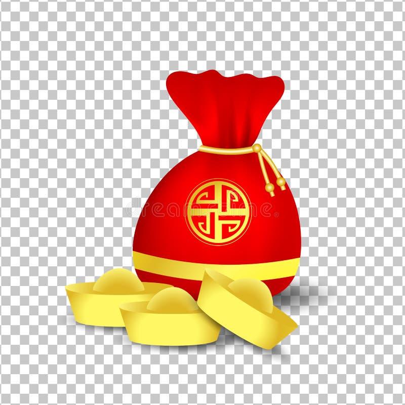 Bolso rojo por Año Nuevo chino y las monedas de oro aislados en blanco ilustración del vector