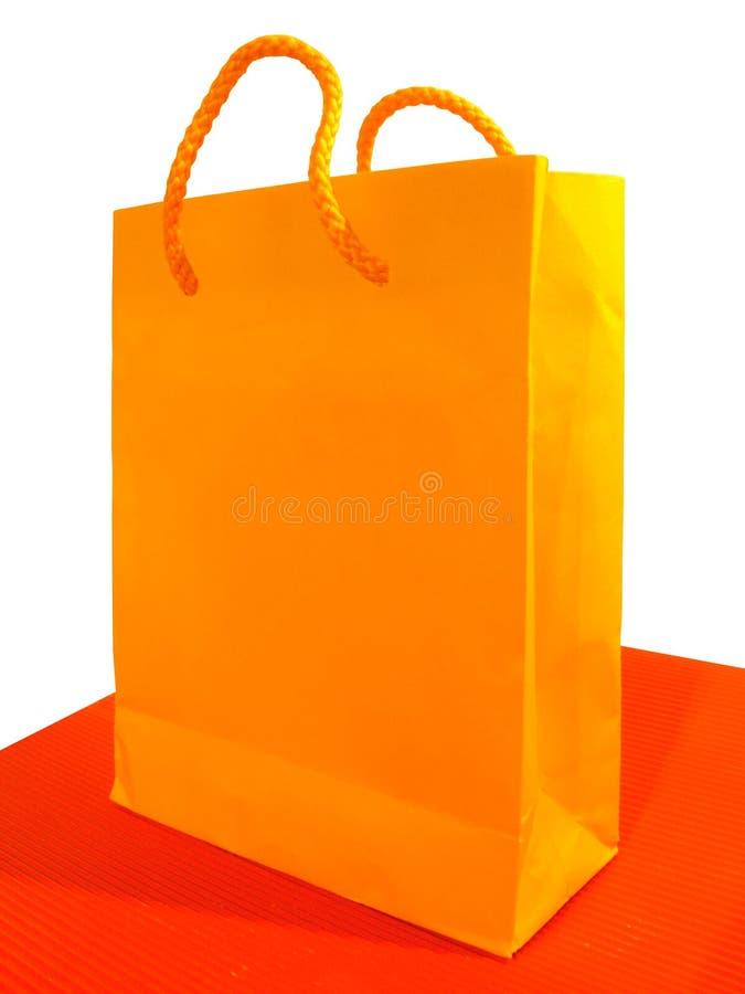 Bolso shoping anaranjado imagen de archivo libre de regalías
